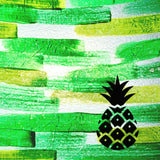 Pineapple on Green Background Painted Plastics Upcycle Hawaii Hand painted Fused Plastic Zipper Pouches Upcycled Repurposed Made in Hawaii