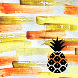 Pineapple on Orange Background Painted Plastics Upcycle Hawaii Hand painted Fused Plastic Zipper Pouches Upcycled Repurposed Made in Hawaii
