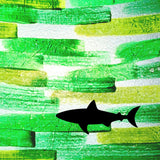 Shark on Green Background Painted Plastics Upcycle Hawaii Hand painted Fused Plastic Zipper Pouches Upcycled reclaimed Made in Hawaii