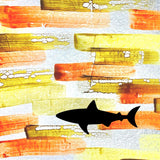 Shark on Orange Background Painted Plastics Upcycle Hawaii Hand painted Fused Plastic Zipper Pouches Upcycled reclaimed Made in Hawaii