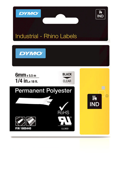 Dymo Rhino 1805440 Polyester Tape 6mm Black On Clear Perm - Labelzone