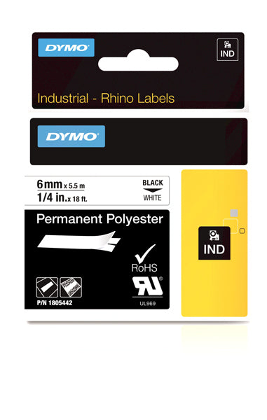 Dymo Rhino 1805442 Polyester Tape 6mm Black On White Perm - Labelzone