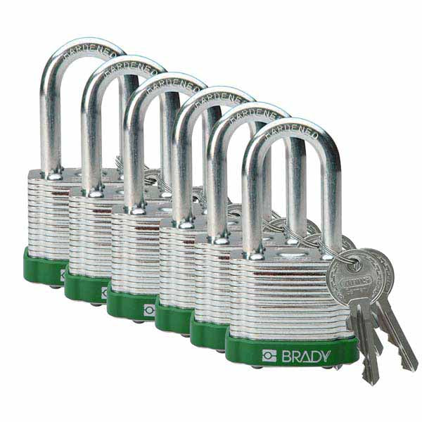 Brady 814099 Steel Padlock 38mm Green 6 Pack