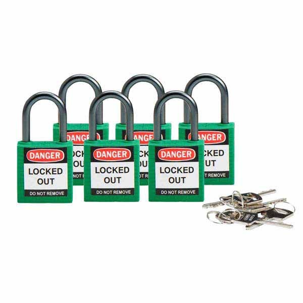 Brady 814118 Compact Safety Padlock 25mm Green 6 Pack