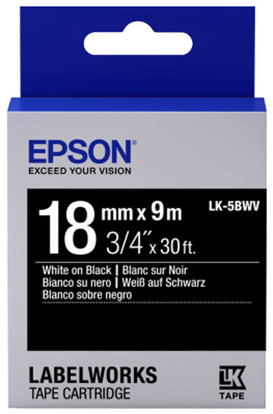 C53S655014 - Epson Label Cartridge Vivid LK-5BWV White on Black 18mm x 9m