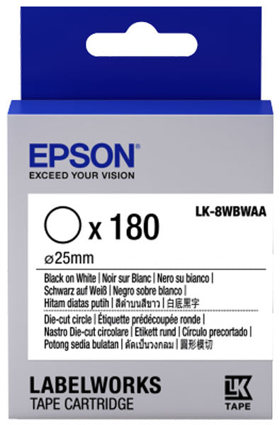 C53S658901 - Epson Label Cartridge Die-cut Circle LK-8WBWAA Black on White D25mm