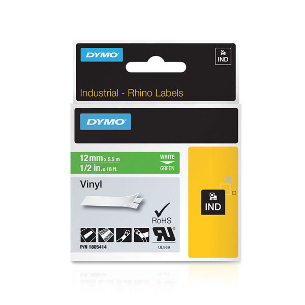 Dymo Rhino 1805414 Vinyl Tape 12mm White On Green - Labelzone