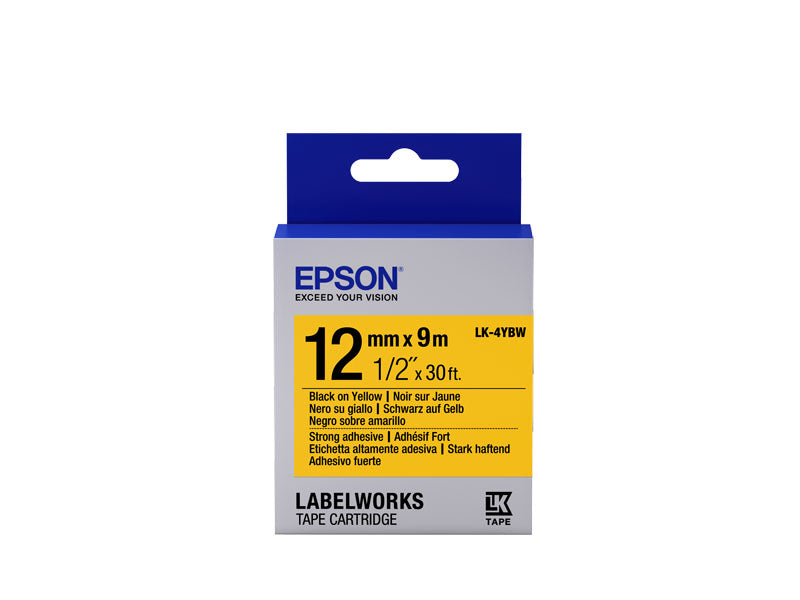 C53S654014 - Epson Label Cartridge Strong Adhesive LK-4YBW Black on Yellow 12mm x 9m