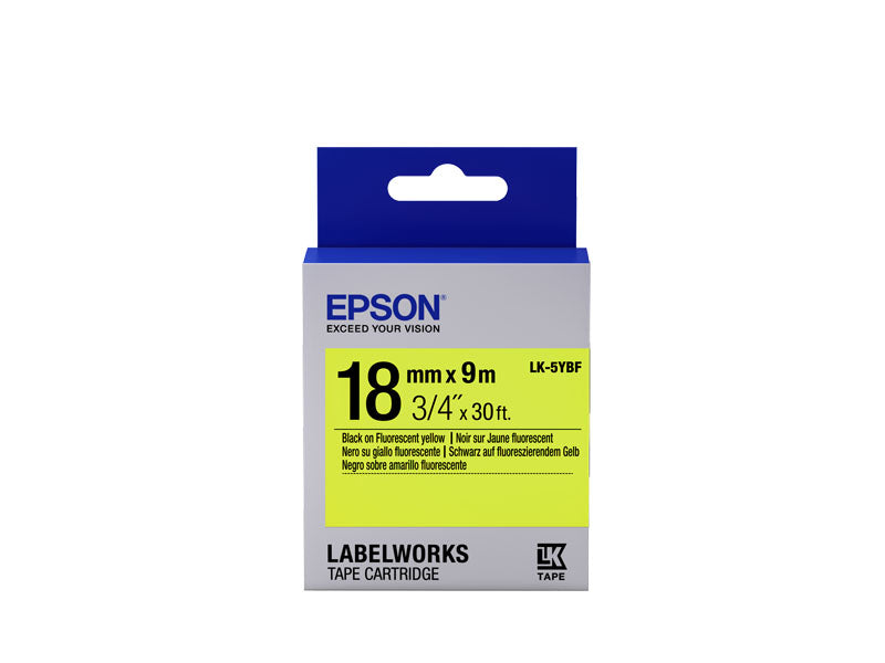 C53S655004 - Epson Label Cartridge Fluorescent LK-5YBF Black on Yellow 18mm x 9m