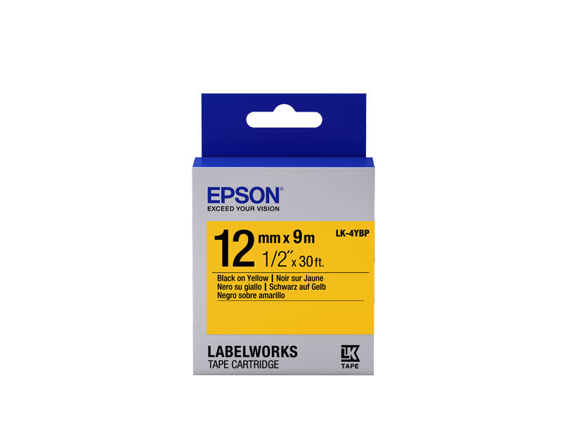 C53S654008 - Epson Label Cartridge Pastel LK-4YBP Black on Yellow 12mm x 9m