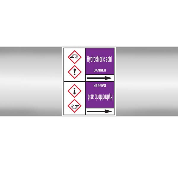 N007014 Brady White on Violet Hydrochloric acid Clp Pipe Marker On Roll