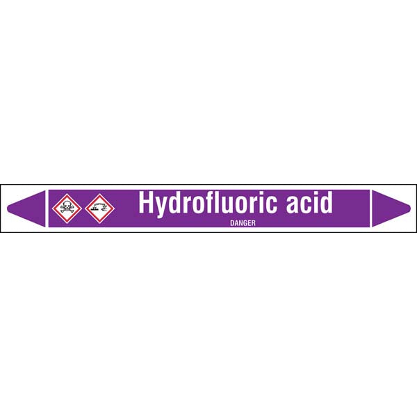 N007021 Brady White on Violet Hydrofluoric acid Clp Pipe Marker On Roll