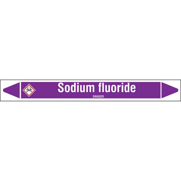 N007159 Brady White on Violet Sodium fluoride Clp Pipe Marker On Roll