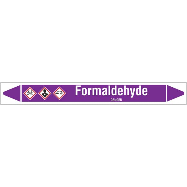 N007181 Brady White on Violet Formaldehyde Clp Pipe Marker On Roll
