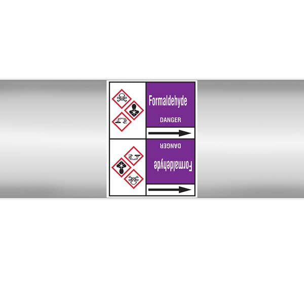 N007184 Brady White on Violet Formaldehyde Clp Pipe Marker On Roll