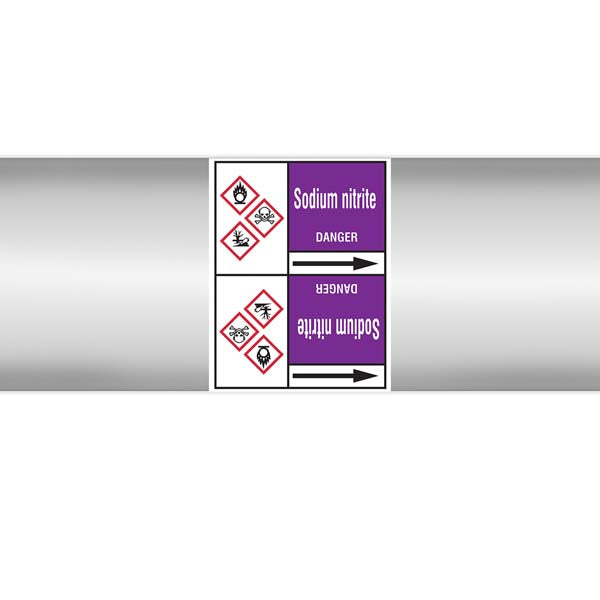 N007246 Brady White on Violet Sodium nitrite Clp Pipe Marker On Roll