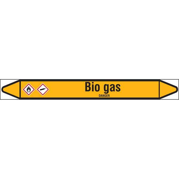 N007377 Brady Black on Yellow Bio gas Clp Pipe Marker On Roll