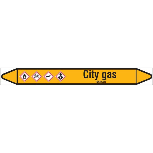 N007566 Brady Black on Yellow City gas Clp Pipe Marker On Roll