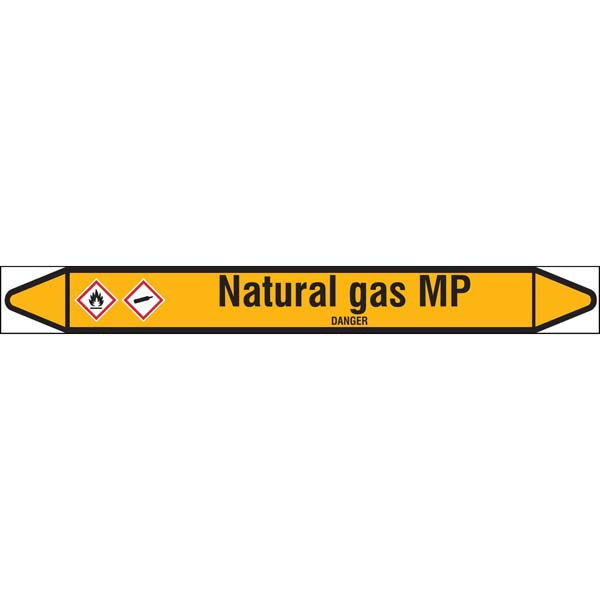 N007612 Brady Black on Yellow Natural gas MP Clp Pipe Marker On Roll