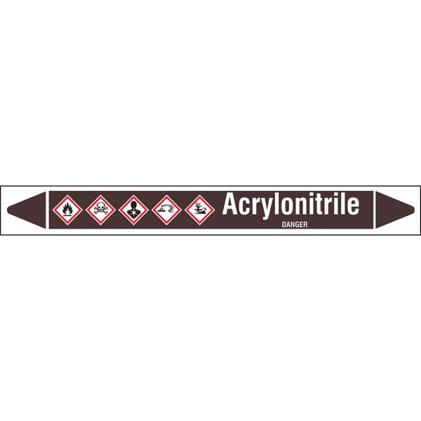 N007843 Brady White on Brown Acrylonitrile Clp Pipe Marker On Roll