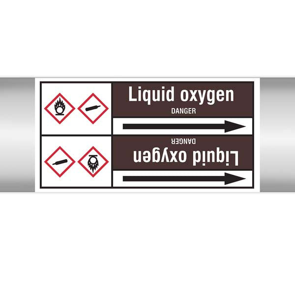 N008199 Brady White on Brown Liquid oxygen Clp Pipe Marker On Roll