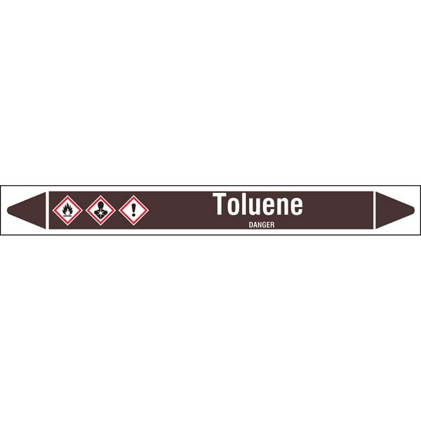 N008257 Brady White on Brown Toluene Clp Pipe Marker On Roll