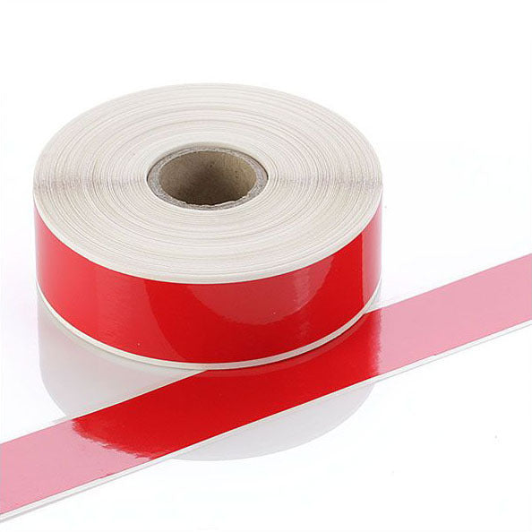 Q-V025RD - Red Continuous Vinyl Rolls - Permanent Adhesive - 25mm wide - Labelzone