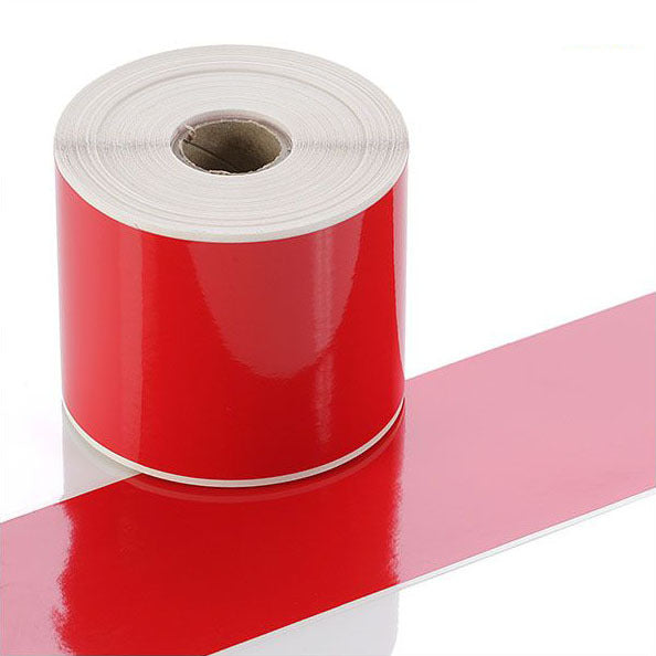 Q-V075RD - Red Continuous Vinyl Rolls - Permanent Adhesive - 75mm wide - Labelzone