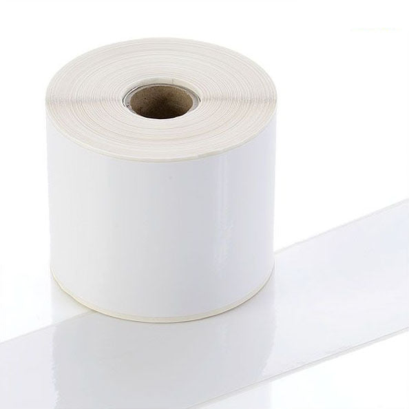 94-7816-C325 - White Continuous Gloss Polyester Rolls - Permanent Adhesive - 75mm wide - Labelzone