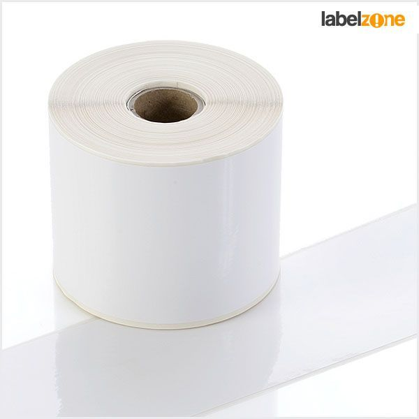 Q-PP100WT - White Continuous Self-Adhesive Tape - Permanent Adhesive - 100mm wide - Labelzone