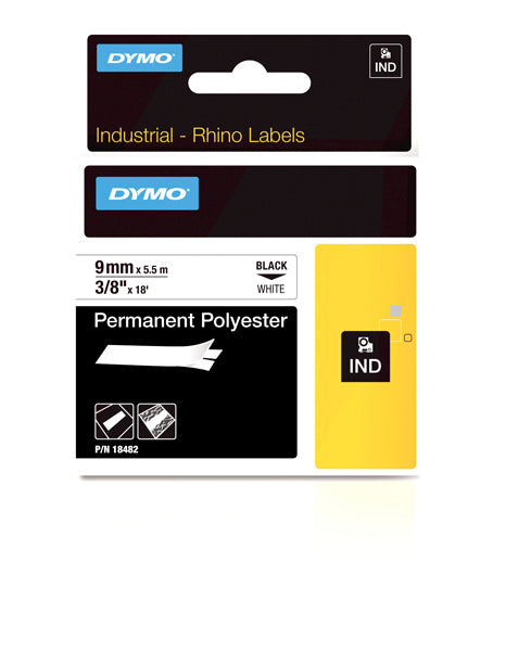 Dymo S0718240 - 9mm White Permanent Polyester Rhino Tape - Labelzone