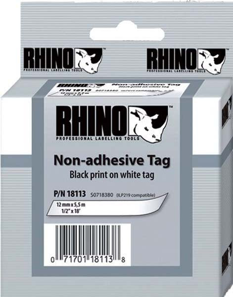 Dymo Rhino S0718420 - 12mm Yellow Non Adhesive Tag - Labelzone