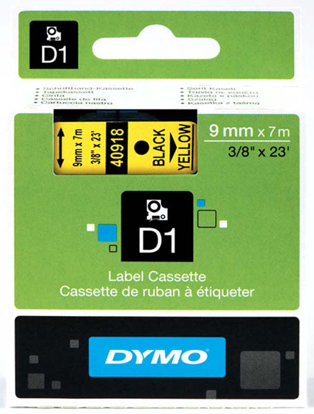 Dymo S0720730 D1 Tape 9mm Black on Yellow 40918 - Labelzone