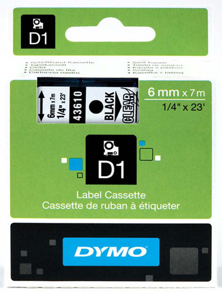 Dymo S0720770 D1 Tape 6mm Black on Clear 43610 - Labelzone