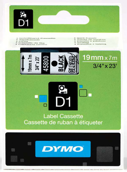 Dymo S0720820 D1 Tape 19mm Black on Clear 45800 - Labelzone