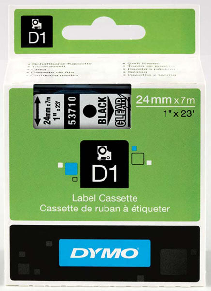 Dymo S0720920 D1 Tape 24mm Black on Clear - Labelzone