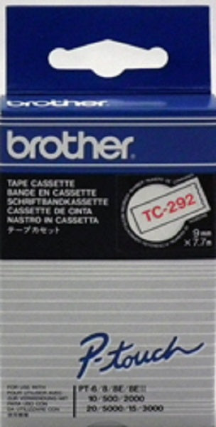 Brother TC-292 - 9mm Red on White TC Tape - Labelzone