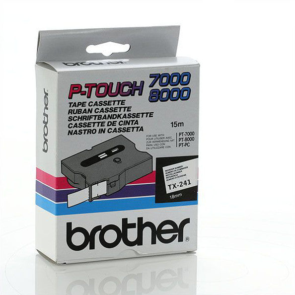 Brother TX-241- 18mm Black on White Laminated TX Tape - Labelzone