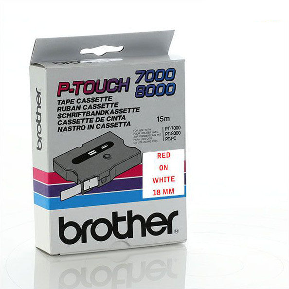 Brother TX-242 - 18mm Red on White Laminated TX Tape - Labelzone