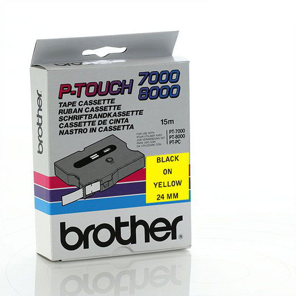 Brother TX-651 - 24mm Black on Yellow Laminated TX Tape - Labelzone