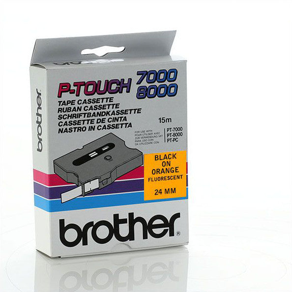 Brother TX-B51 - 24mm Black on Orange Fluorescent Laminated TX Tape - Labelzone