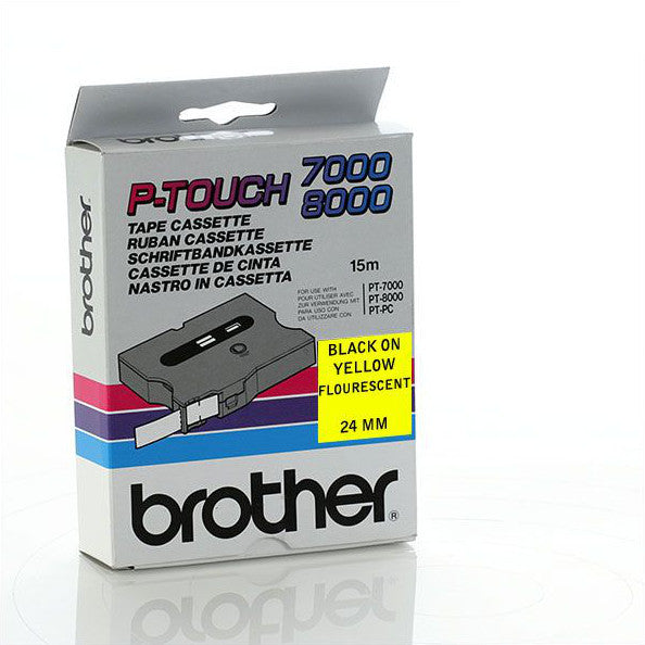 Brother TX-C51 - 24mm Black on Yellow Fluorescent Laminated TX Tape - Labelzone