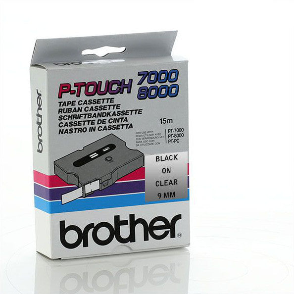 Brother TX-M21 - 9mm Black on Clear Matt Laminated Tape - Labelzone