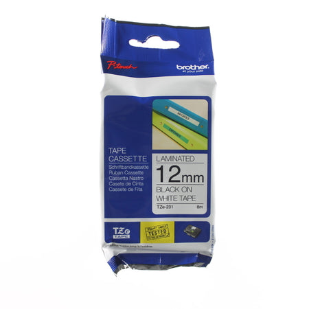 Brother TZ-231 - 12mm Black on White Laminated Tape - Labelzone