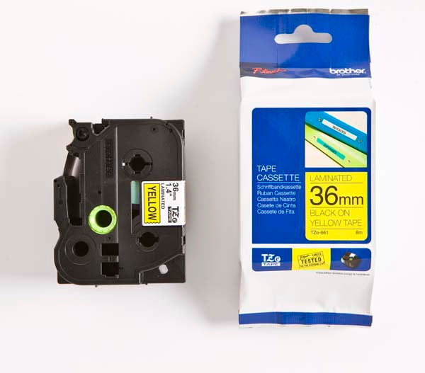 Brother TZ-661 - 36mm Black on Yellow Laminated Tape - Labelzone