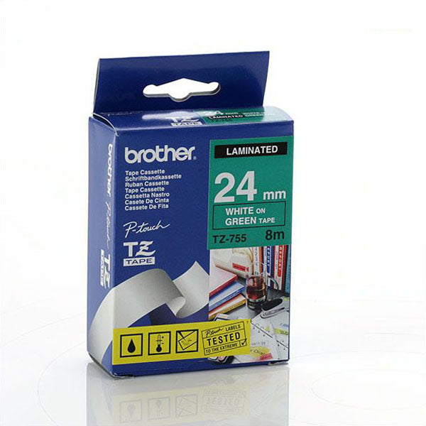 Brother TZ-755 - 24mm White on Green Laminated Tape - Labelzone