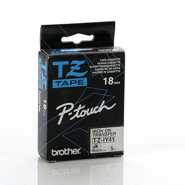 Brother TZ-IY41 - 18mm Black on White Iron On Tape - Labelzone