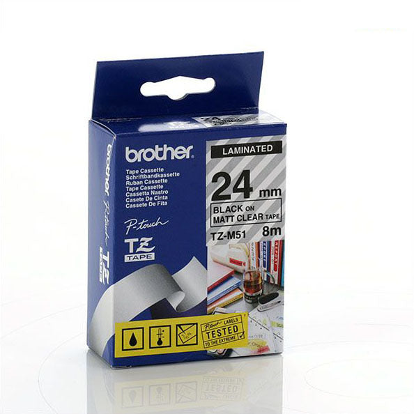 Brother TZ-M51 - 24mm Black on Clear MATT Laminated Tape - Labelzone