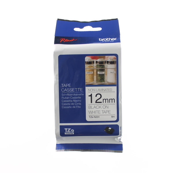 Brother TZ-N231 - 12mm Black on White NON Laminated Tape - Labelzone