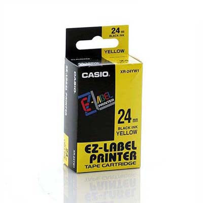 Casio XR-24YW Tape 24mm Black on Yellow - Labelzone